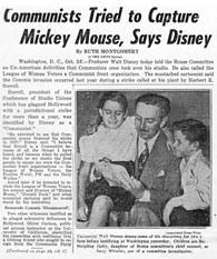 "New York Daily News, October 24, 1947 with the headline ""Communists Tried to Capture Mickey Mouse, says Disney"""
